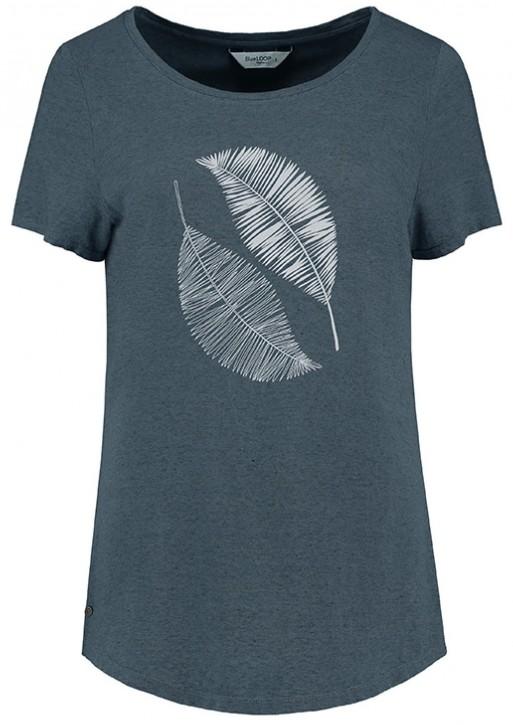 Blue Loop Pure Scribble Leaves T-Shirt W