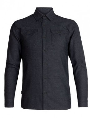 Icebreaker Mens Lodge LS Flannel S / black/gritstone heather