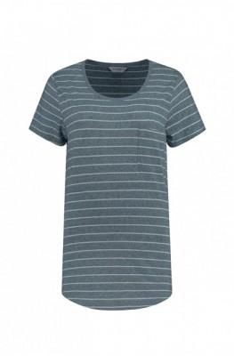 Blue Loop Pure StripeT-Shirt + Pocket W S / grey/sea blue