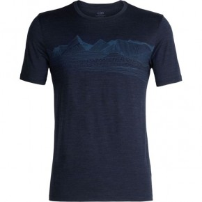 Icebreaker Mens Tech Lite SS Crewe Pyrenees L / dark night heather